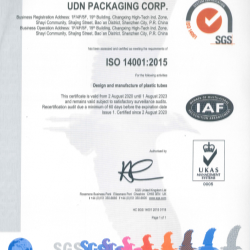 UDN certified ISO14001:2015 in 2020