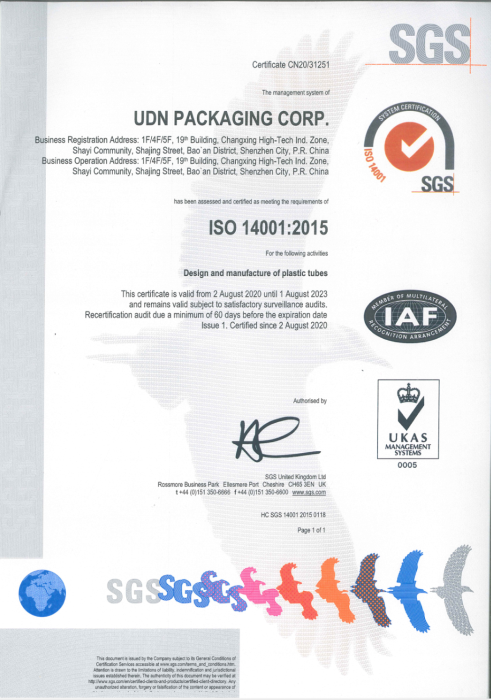 UDN Achieve  ISO14001:2015 Certificate